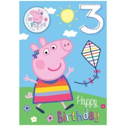 Peppa Pig Birthday Card Age 3 With Badge