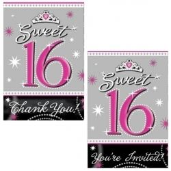 Sweet Sixteen Party Invitations and Thank You Card Set