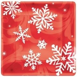 Elegant Entertaining Red Christmas Party Plates