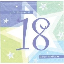 18th Birthday Blue Shimmer Party Napkins