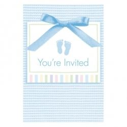 Baby Soft Blue Baby Party Invitations