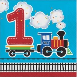 All Aboard Steam Train 1st Birthday Party Napkins
