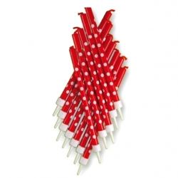 Tall Party Candles Polka Dot Red and White