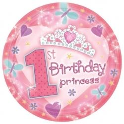 1st Birthday Princess Baby Girl Party Plates