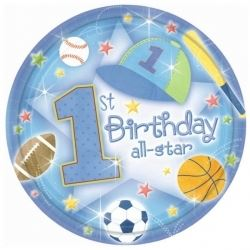 1st Birthday All Star Baby Boy Party Plates