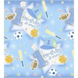 1st Birthday All Star Baby Boy Party Tablecovers