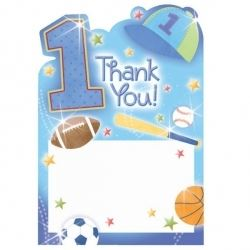 1st Birthday All Star Baby Boy Party Thank You Cards