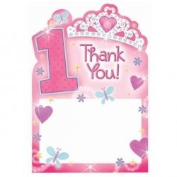 1st Birthday Princess Baby Girl Party Thank You Cards
