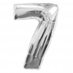 Silver Supersized Foil Balloon Number 7