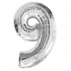 Silver Supersized Foil Balloon Number 9