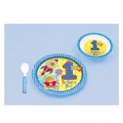 1st Birthday Boy Melamime Partyware Gift Set