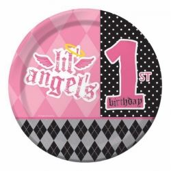 1st Birthday Girl Lil Angel Party Plates
