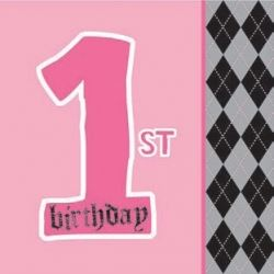 1st Birthday Girl Lil Angel Party Napkins