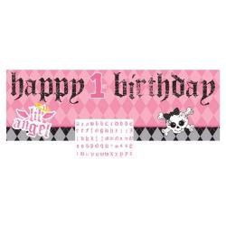 1st Birthday Girl Lil Angel Party Giant Banner