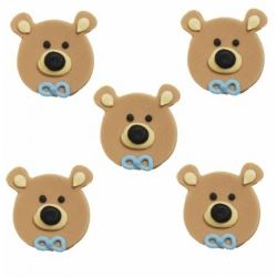 Teddy Bear Sugar Cake Decorations Blue