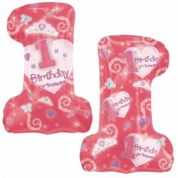 First Birthday Girl Princess Super Shape Balloon