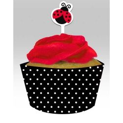 Little Ladybird Party Cupcake Wrappers and Toppers