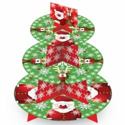 Christmas Party Santa 3 Tier Cupcake Stand