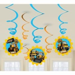 My 1st JCB Party Swirl Decorations