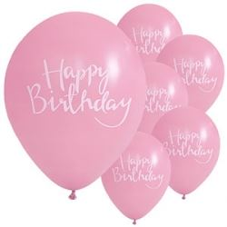 Happy Birthday Party Balloons Pink