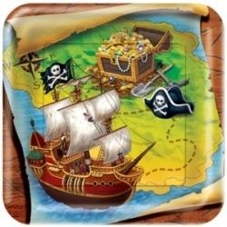 Buried Treasure Pirate Party Square Lunch  Plates