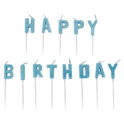 Happy Birthday Blue Glitter Letter Candles