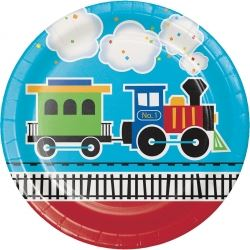 All Aboard Steam Train Party Plates