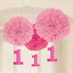 1st Birthday Girl Pink Fluffy Party Decorations