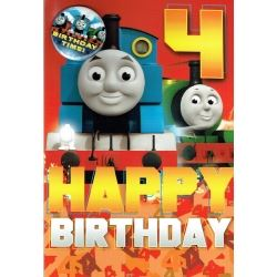Thomas The Tank Birthday Card Age 4 With Badge