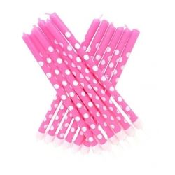 Tall Party Candles Polka Dot Pink and White
