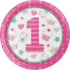 Doodle 1st Birthday Girl Party Plates