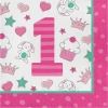 Doodle 1st Birthday Girl Party Napkins