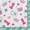 Doodle 1st Birthday Girl Party Beverage Napkins