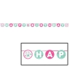Doodle 1st Birthday Girl Party Ribbon Banner