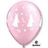 Pink Pearlised Rabbit & Flower Party Balloons