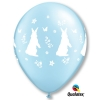 Blue Pearlised Rabbit & Flower Party Balloons