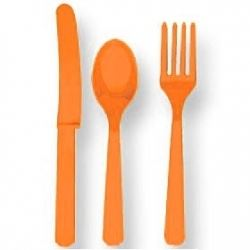 Orange Cutlery Party Set