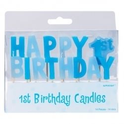 Happy First Birthday Boy Candle
