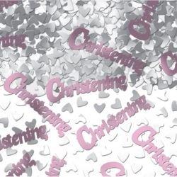 Christening Girl Metallic Table Confetti