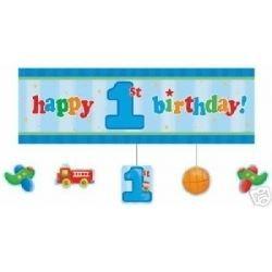 1st Birthday Fun To Be One Boy Giant Banner