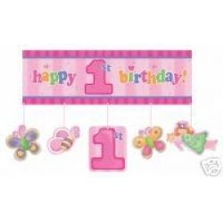 1st Birthday Fun To Be One Girl Party Giant Banner