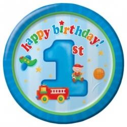 1st Birthday Fun To Be One Boy Party Lunch Plates